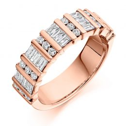 1.25 mixed cut eternity ring rose gold