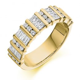 1.25 mixed cut eternity ring yellow gold