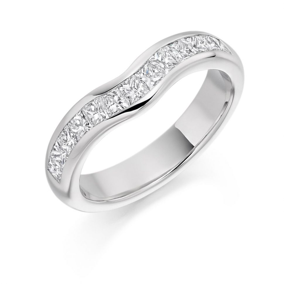 Princess Cut Contoured Wedding Band (Mey)