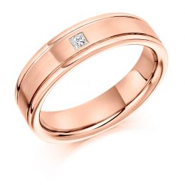 .7ct gents diamond wedding ring rose gold
