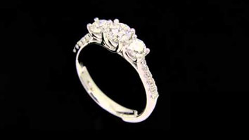 """Helen DS"" – Three Stone Diamond Engagement Ring with Diamond Shoulders"