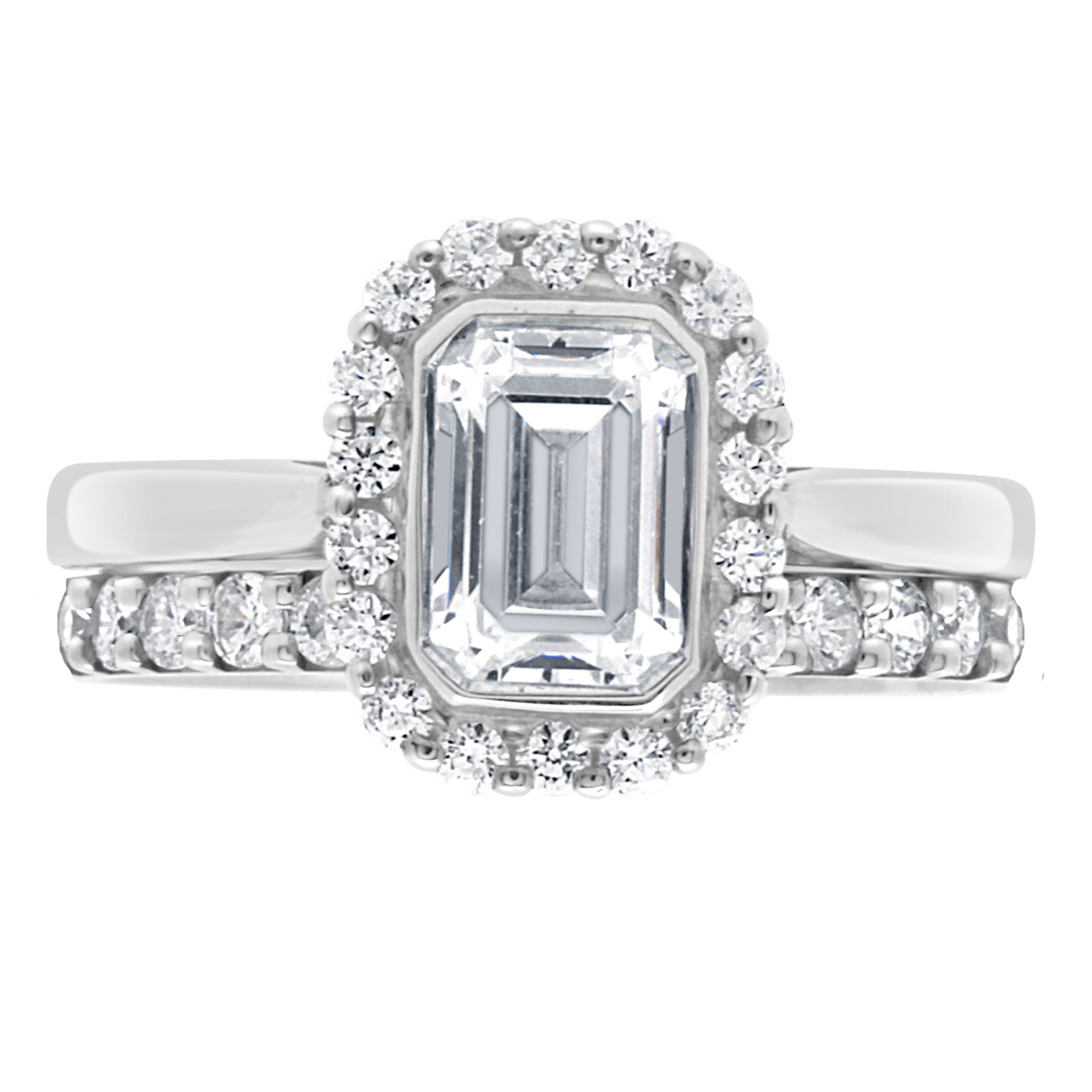 Monica Engagement Ring Is An Emerald Cut Diamond In White Gold