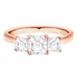 Three Stone Asscher Engagement Ring Rose gold (Aisling 1)