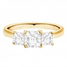 Three Stone Asscher Engagement Ring yellow gold (Aisling 1)