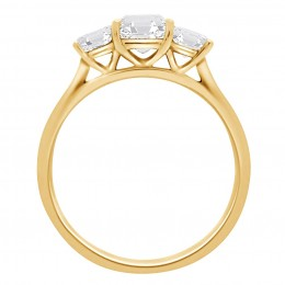 Three Stone Asscher Engagement Ring yellow gold (Aisling 2)