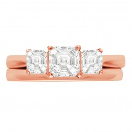 Three Stone Asscher Engagement Ring Rose gold