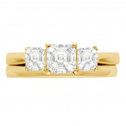 Three Stone Asscher Engagement Ring yellow gold