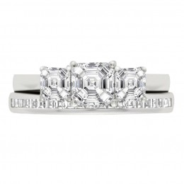 Three Stone Asscher Engagement Ring