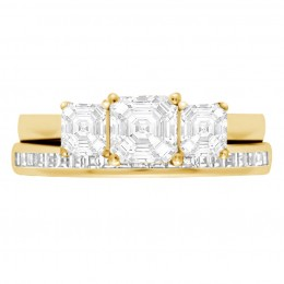 Three Stone Asscher Engagement Ring yellow gold (Aisling 5)