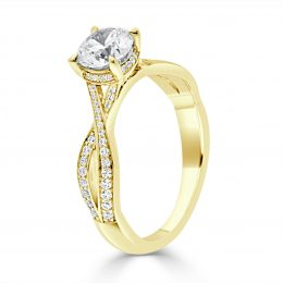 Twisted Band Engagement Ring yellow gold