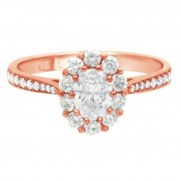 Diamond Cluster Engagement Ring (Bridget ds) rose gold