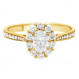 Diamond Cluster Engagement Ring (Bridget ds) yellow gold