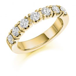 Castle Set Eternity ring yellow gold