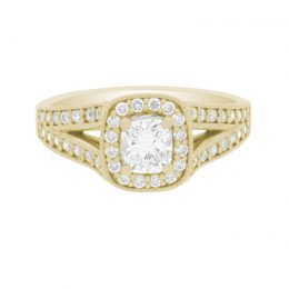 Cushion Halo Diamond Ring yellow gold (Pippa 1)