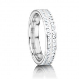 Double Row Channel Set Diamond Wedding Ring