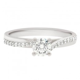 crossover diamond band engagement ring
