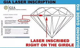 Diamond certificate lazer incribed