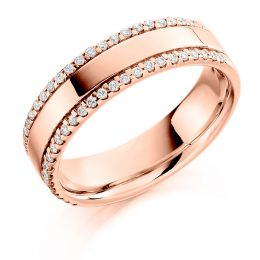 Double Micro Claw Set Wedding Ring (rose gold)
