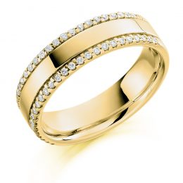 Double Micro Claw Set Wedding Ring (yellow gold)