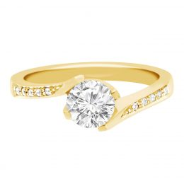 Four Claw Twist Engagement Ring yellow gold (tess 1)