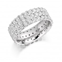 diamond ring, triple row of scallop set diamonds