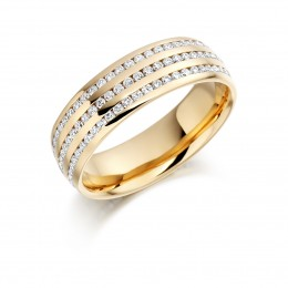 eternity ring in yellow gold with micro melee diamonds