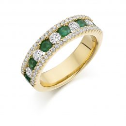 diamond and emerald eternity ring in yellow gold