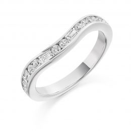 shaped diamond wedding ring with diamonds