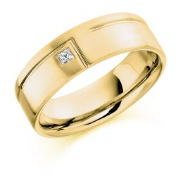 Gents diamond wedding Band Yellow gold