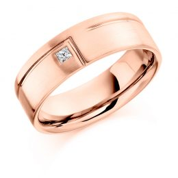 Gents diamond wedding band rose gold