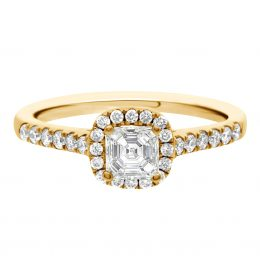 Asscher Diamond Ring - yellow gold harriot asscher 1