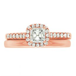 Asscher Diamond Ring - rose gold harriot asscher 4