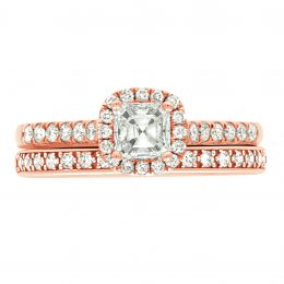 Asscher Diamond Ring - rose gold harriot asscher 5