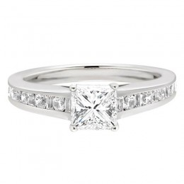 Princess Solitaire with Diamond Set Shoulders-Isabelle