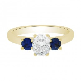 Diamond Sapphire Trilogy yellow gold (Lucia 1)