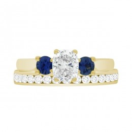 Diamond Sapphire Trilogy yellow gold (Lucia 5)