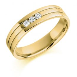 Mens Wedding Band With Diamond In Yellow Gold