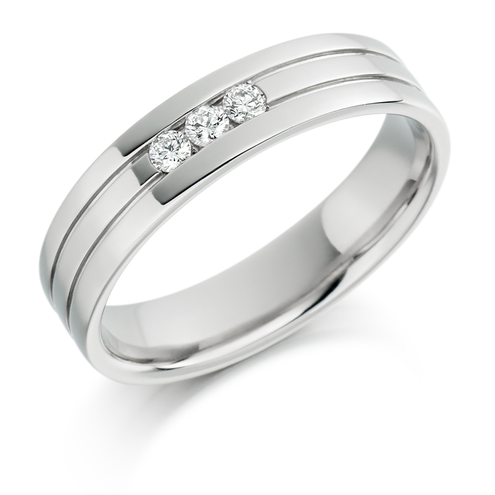 Mens Wedding Band With Diamonds