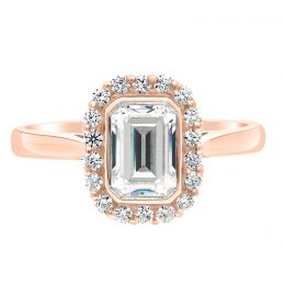 Emerald Halo Engagement Ring - Monica rose gold 1