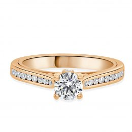 Pamela Engagement Ring in Rose Gold With diamond channel set band standing up view