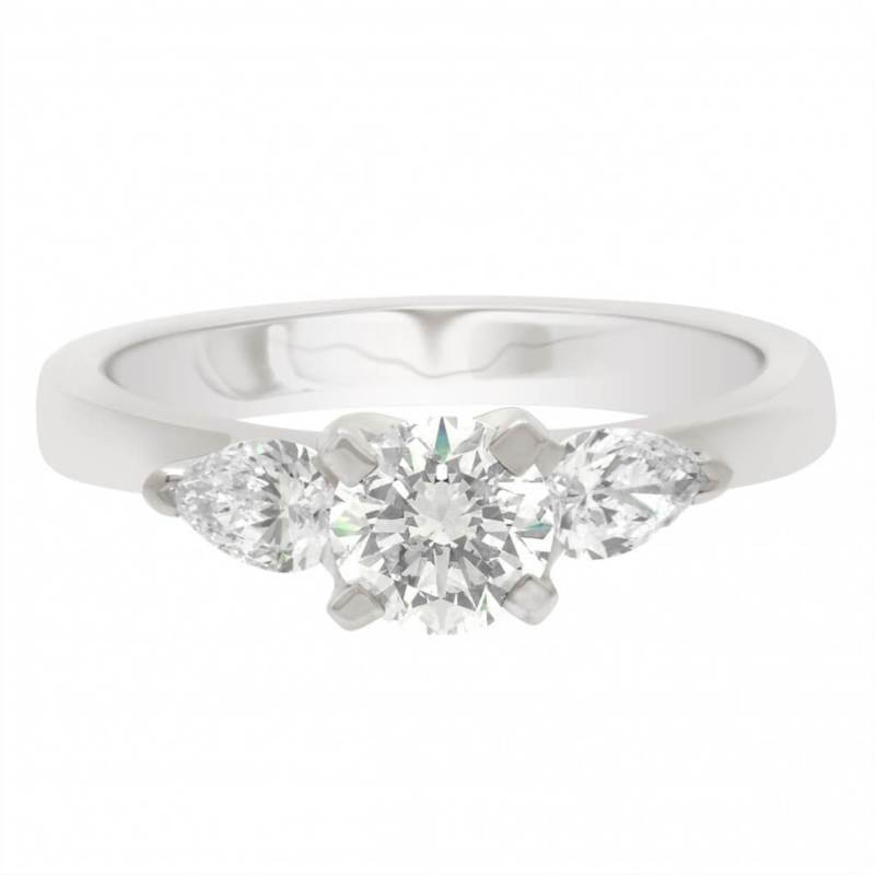 Round And Pear Three Stone Diamond Ring