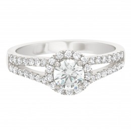 Double Band Halo Engagement Ring