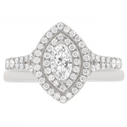 diamond engagement ring with plain wedding ring