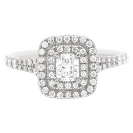 Double Halo Cushion Cut Diamond Ring- solase