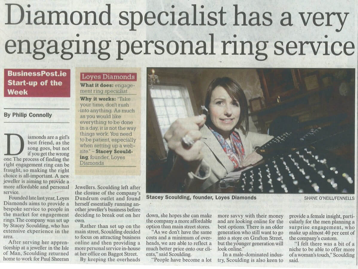 Sunday Business Post – start up of the week – engagement rings specialist.
