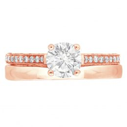 Thin Band Solitaire Engagement Ring rose gold
