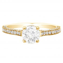Thin Band Solitaire Engagement Ring yellow gold (Gemma 1)