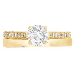 Thin Band Solitaire Engagement Ring yellow gold (Gemma 4)