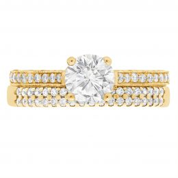 Thin Band Solitaire Engagement Ring yellow gold