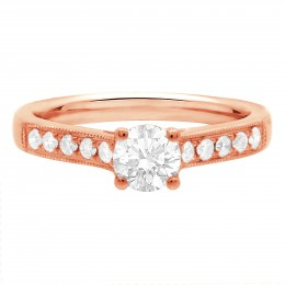 Milgrain Engagement Ring Rose Gold